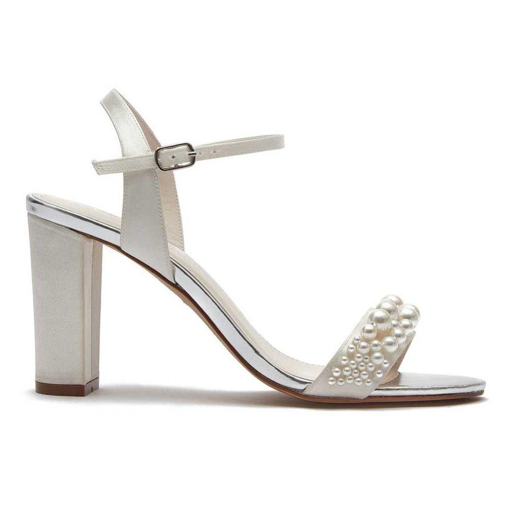 Rainbow Club Clara Ivory Satin Pearl Block Heel Bridal Sandals