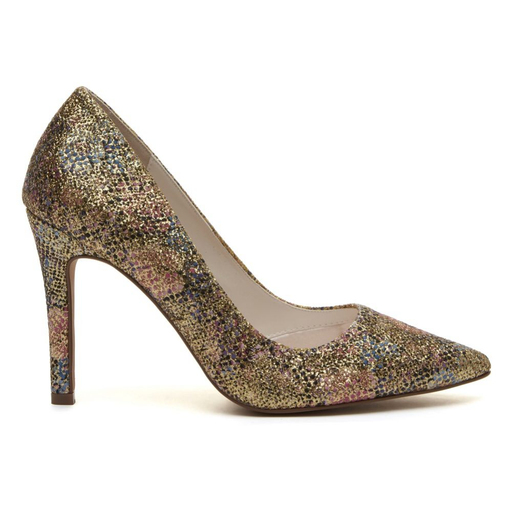 Rainbow Club Coco Gold Glitter Bomb Floral Pointed Court Shoes