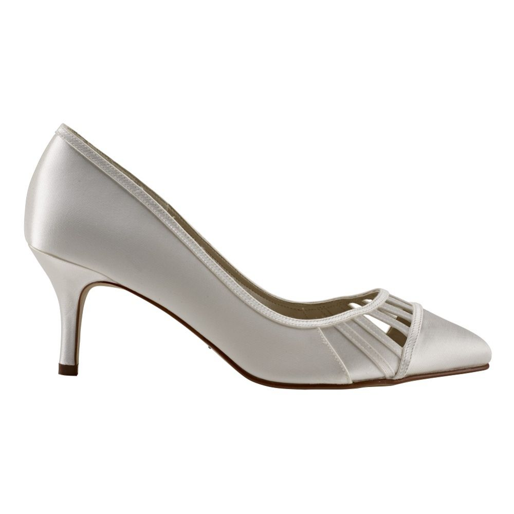 Rainbow Club Danni Dyeable Ivory Satin Cut Out Court Shoes