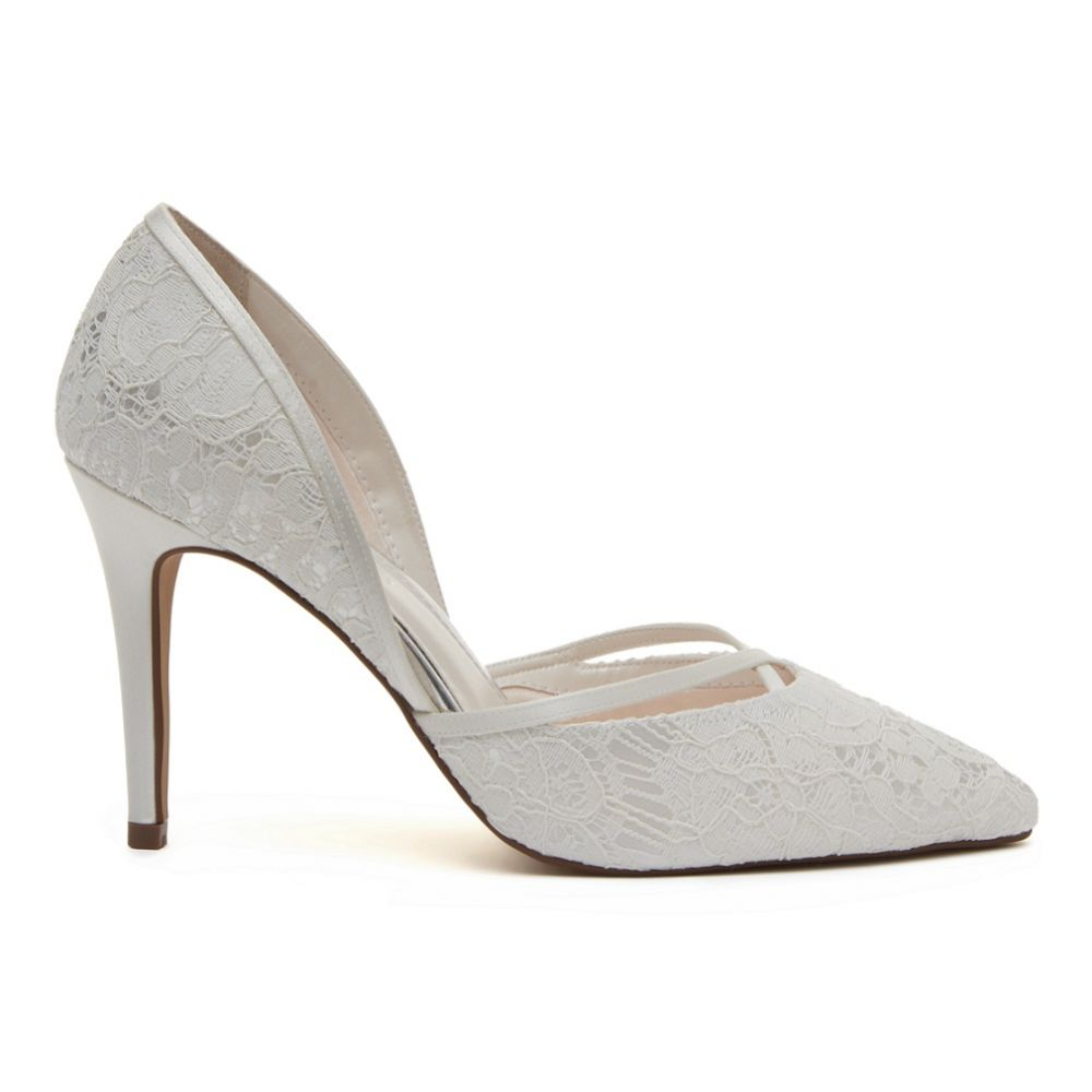 Rainbow Club Georgia Dyeable Ivory Satin and Lace Court Shoes