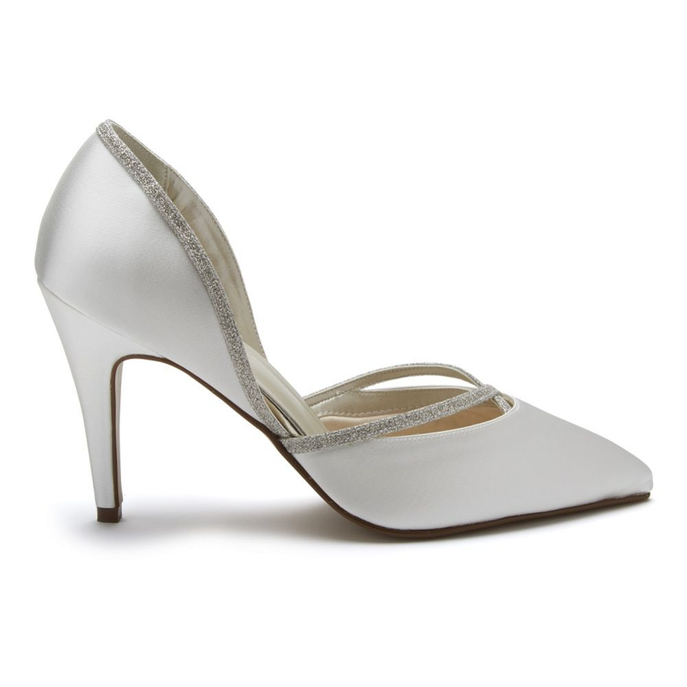 Rainbow Club Georgia Dyeable Ivory Satin and Silver Glitter Court Shoes