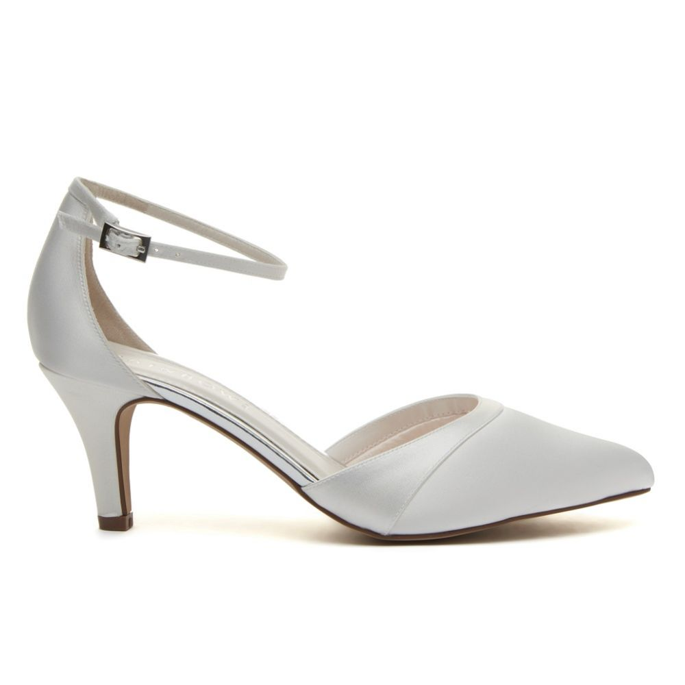 Rainbow Club Harper Dyeable Ivory Satin Ankle Strap Wedding Shoes