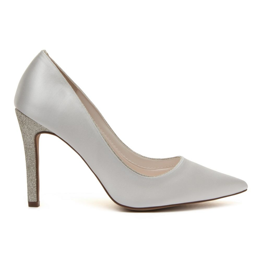 Rainbow Club Kiki Dyeable Ivory Satin and Silver Glitter Heeled Court Shoes