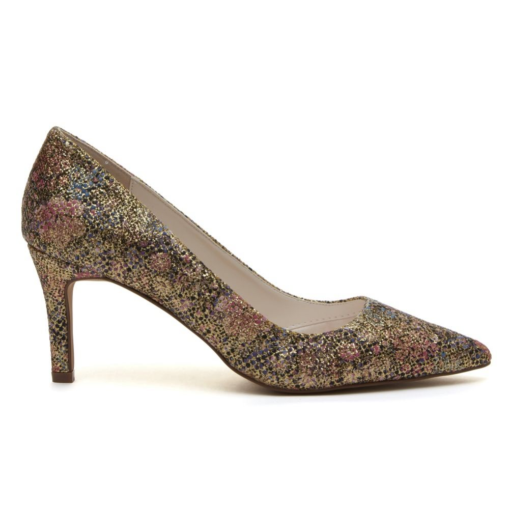 Rainbow Club Morgan Gold Glitter Bomb Floral Mid Heel Pointed Court Shoes