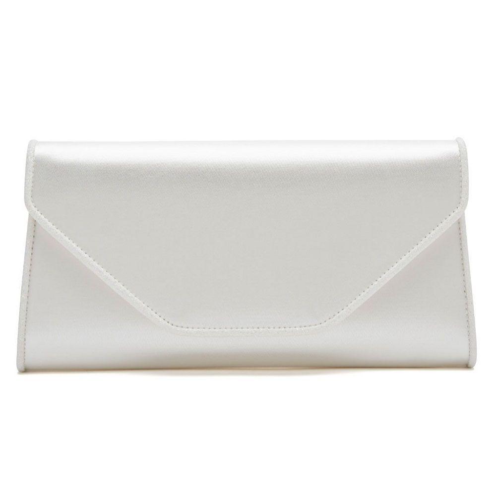 Rainbow Club Roxi Ivory Satin and Glitter Envelope Clutch Bag