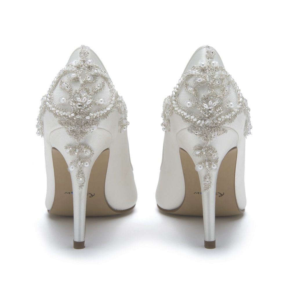 Rainbow Club Willow Ivory Satin Embellished Heel Court Shoes