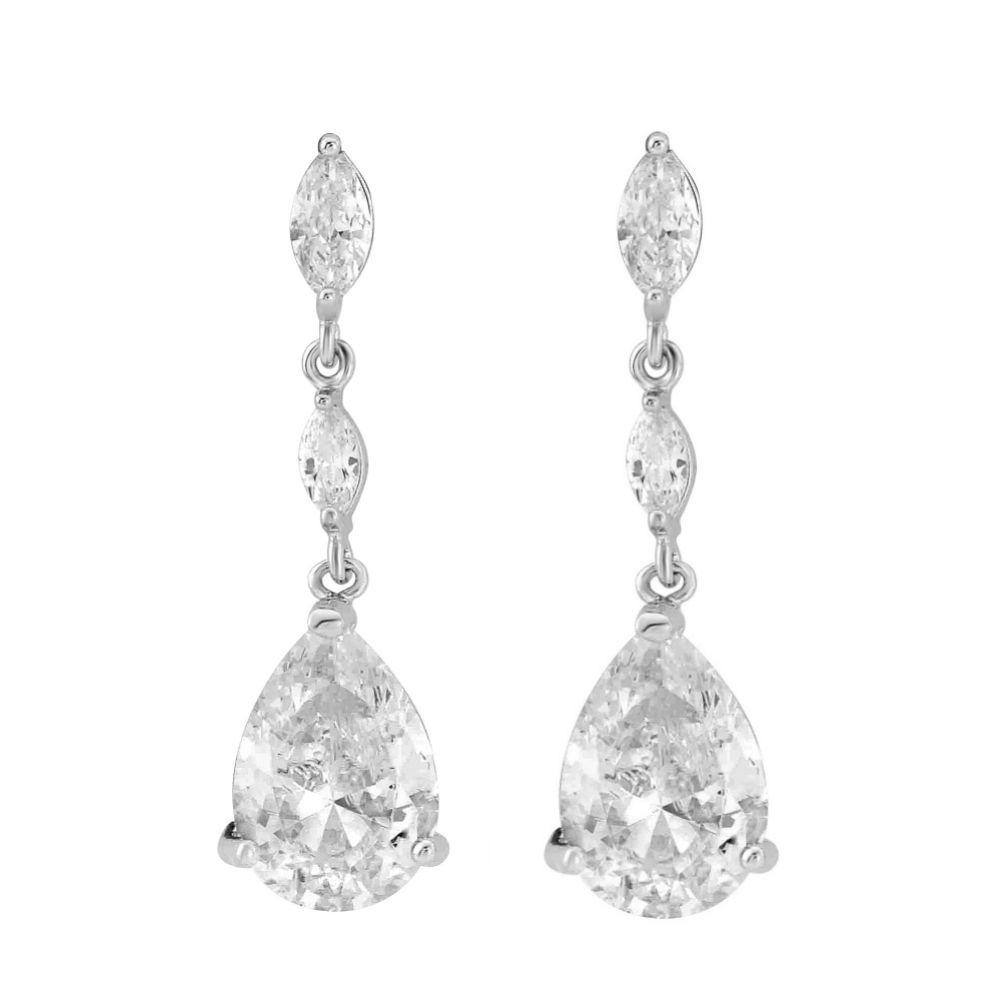 Regalia Crystal Drop Cubic Zirconia Wedding Earrings