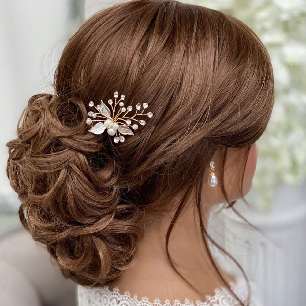 Romance Pearl and Crystal Gold Leaves Hair Pin