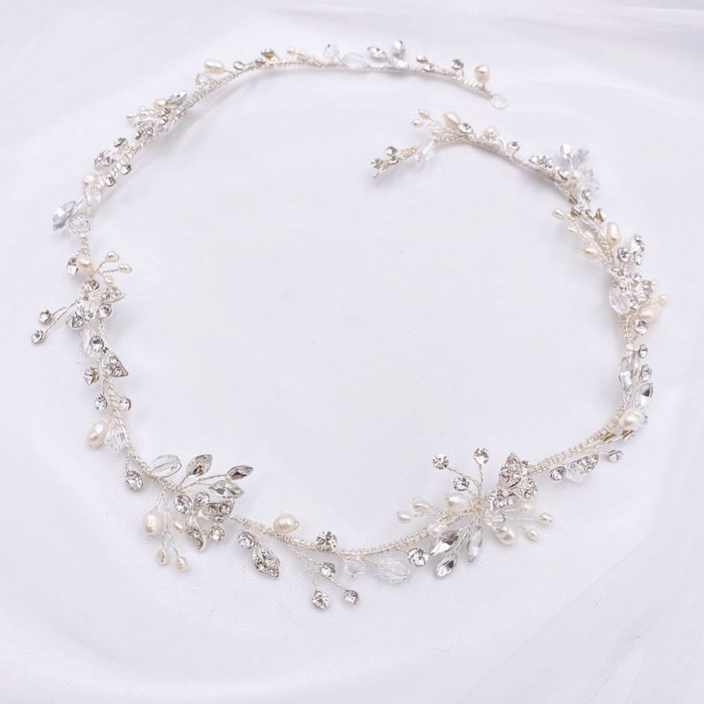 Roxanne Long Freshwater Pearl and Crystal Silver Hair Vine