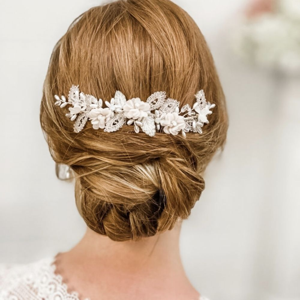 Sabrina Beaded Leaves and Opal Crystal Blush Flowers Hair Comb