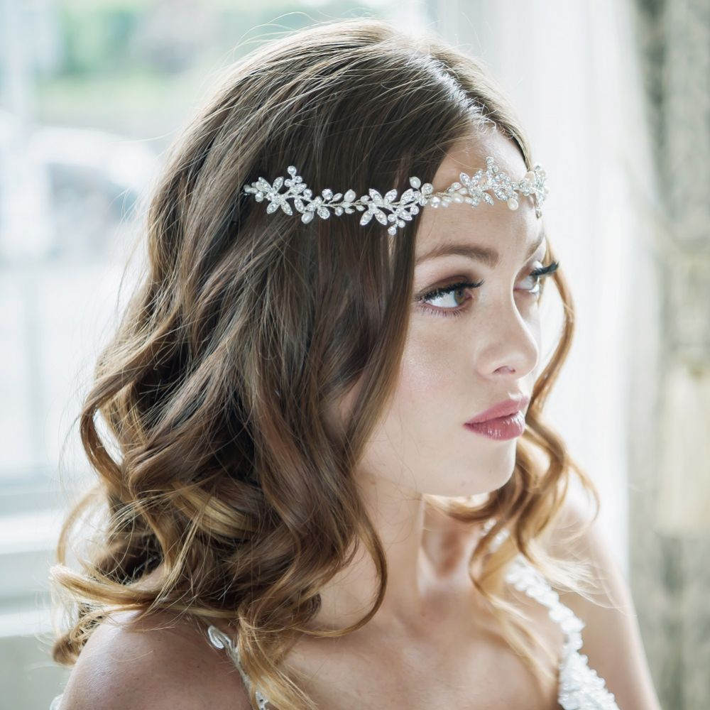 SassB Alessia Luxe Embellished Bridal Hair Vine (Silver)