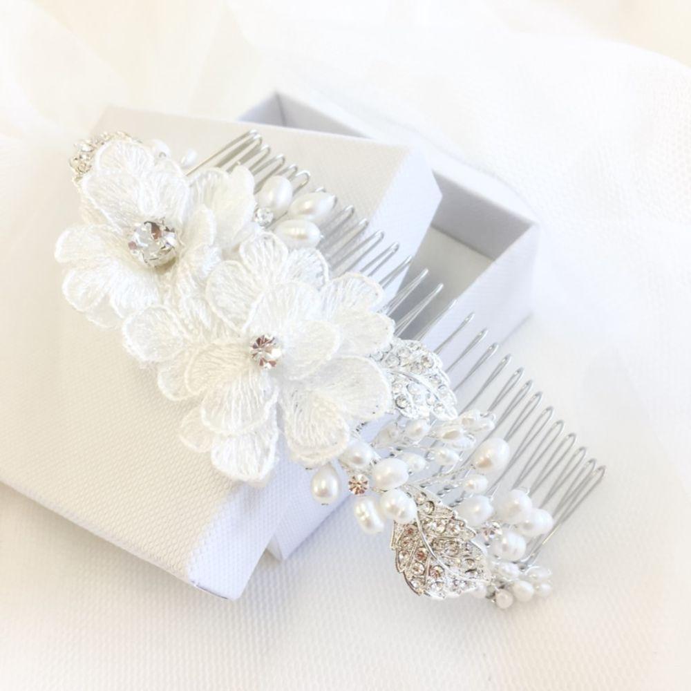 SassB Annabelle Luxe Floral Bridal Hair Comb
