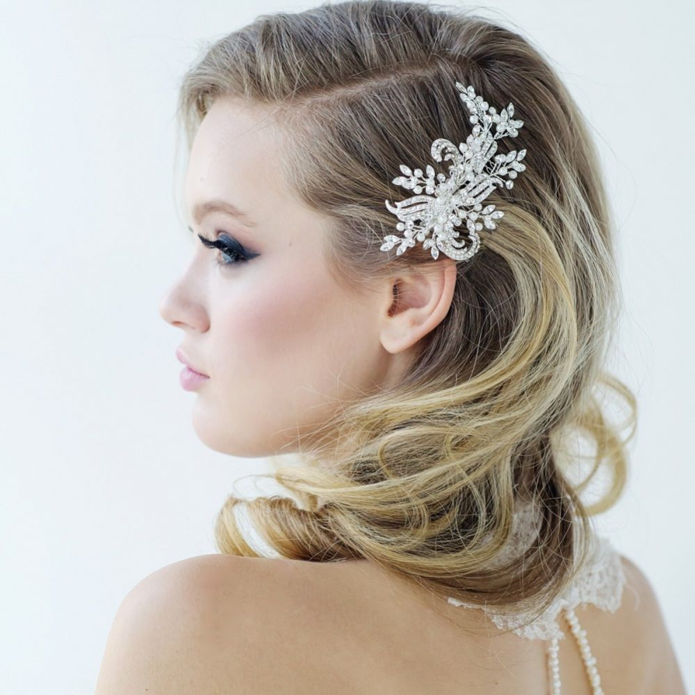 SassB Clarice Luxe Pearl and Diamante Wedding Hair Comb