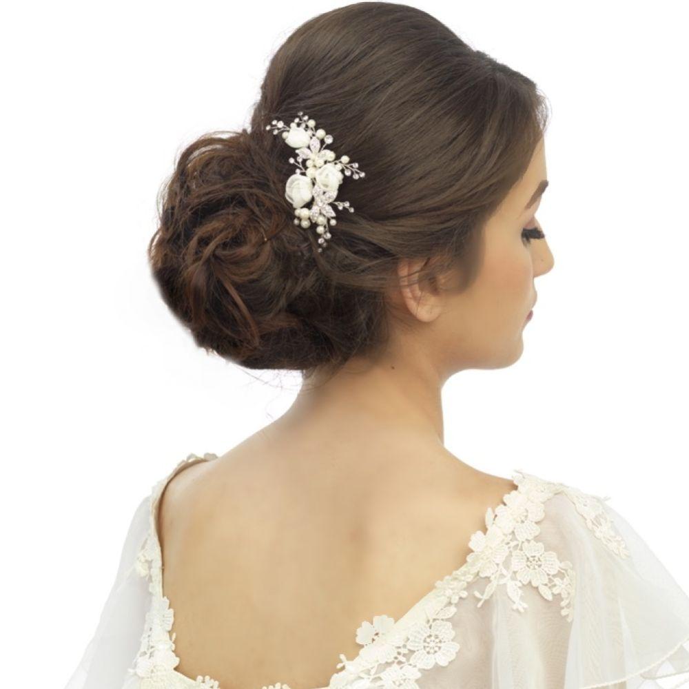 SassB Freya Luxe Floral Pearl and Diamante Bridal Hair Pin (Silver)