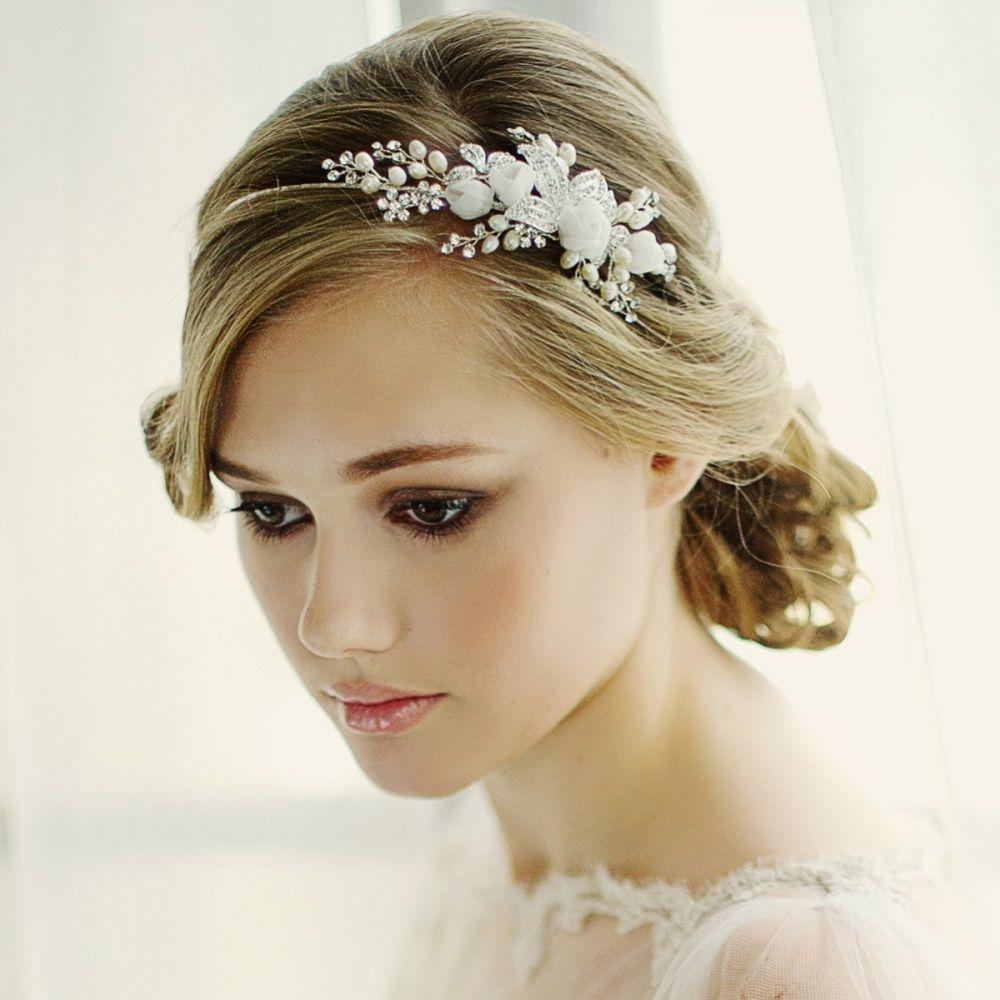 SassB Freya Romantic Fabric Rose Bridal Headband