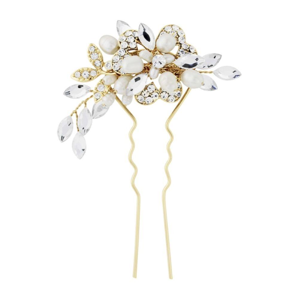 SassB Marcia Luxe Freshwater Pearl Wedding Hair Pin (Gold)