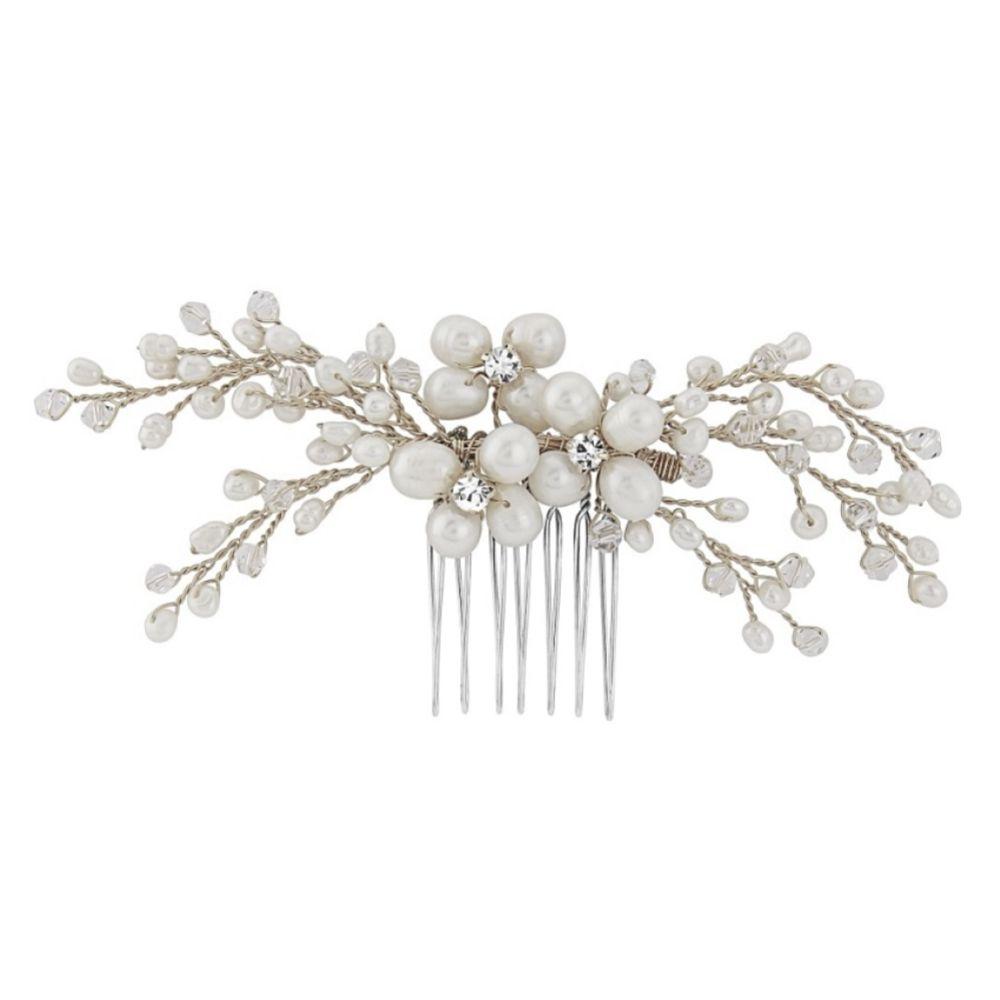 SassB Nita Freshwater Pearl Silver Wedding Hair Comb