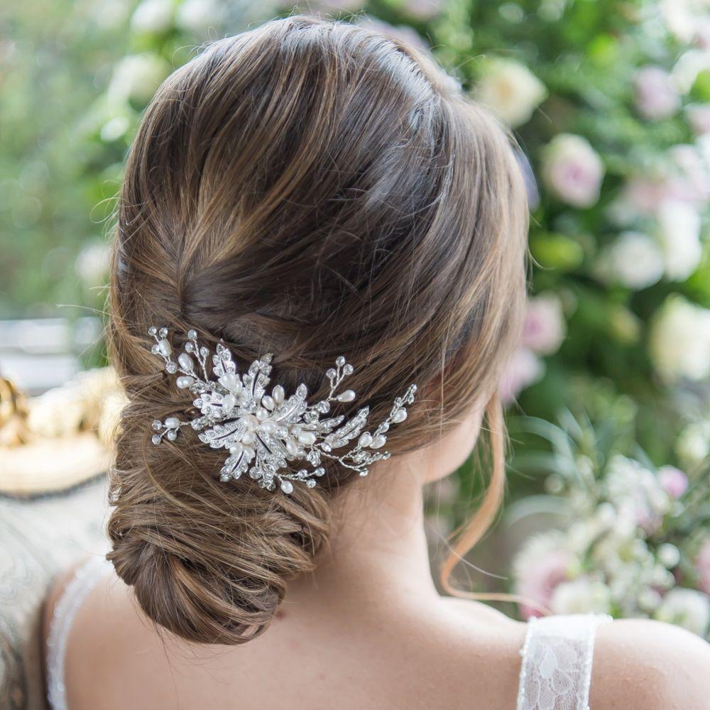 SassB Ophelia Crystal Leaves and Pearl Wedding Hair Comb