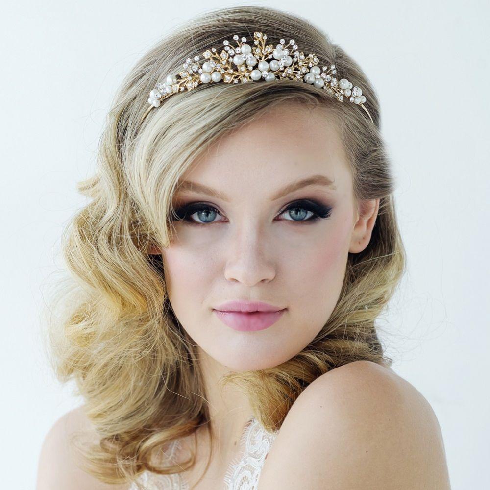 SassB Tess Gold Pearl and Crystal Wedding Tiara