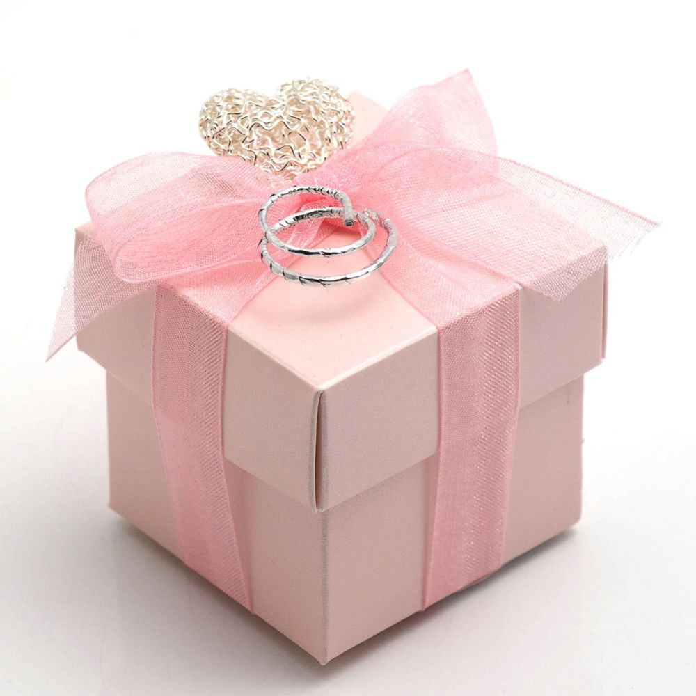 Satin Pink Cube Favour Box - Pack of 10
