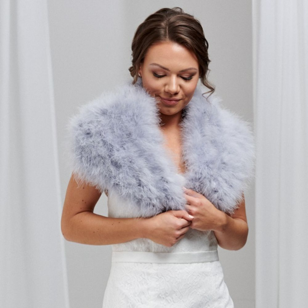 Scarlet Silver Grey Feather Bridal Stole