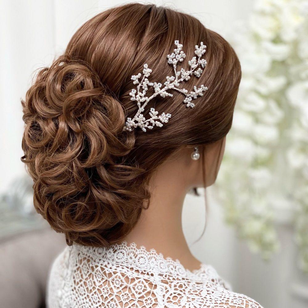 Selene Ivory Pearl and Beaded Branch Hair Vine