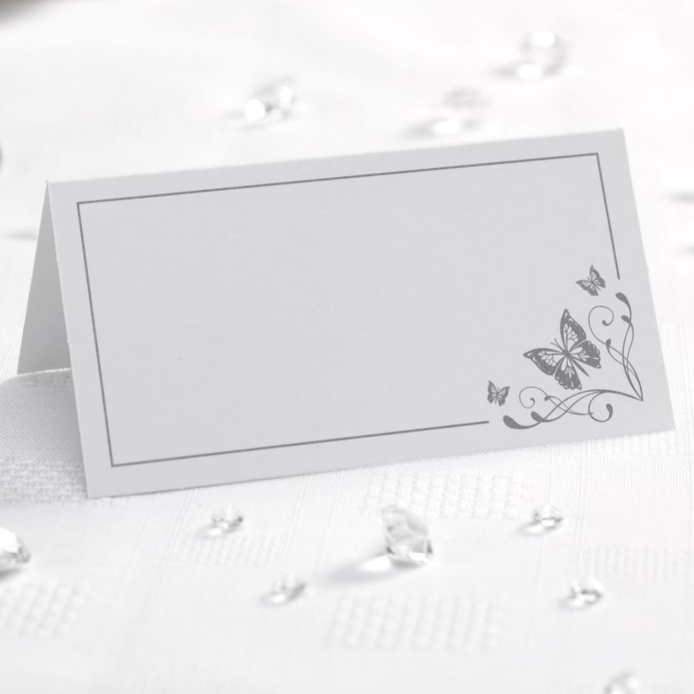 Silver Printed Elegant Butterfly Place Card - Pack of 50