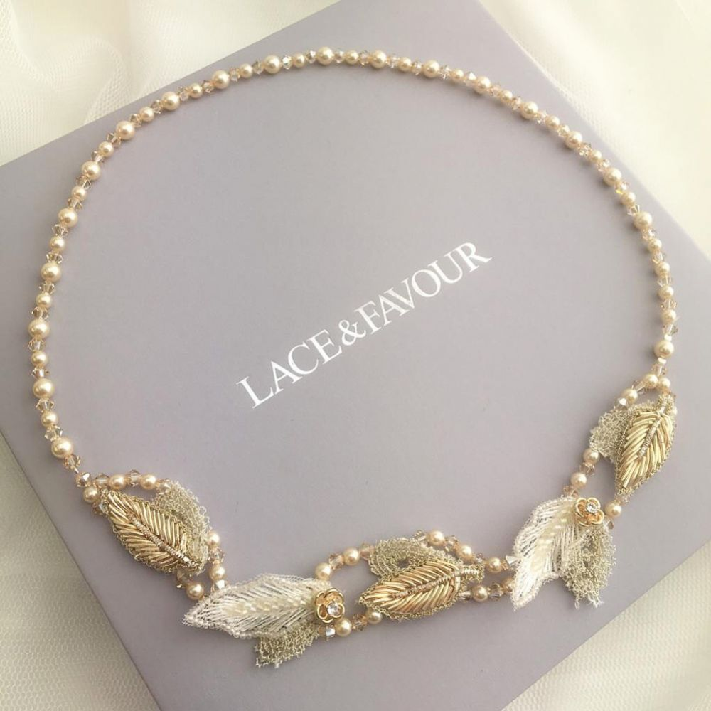 Simone Champagne Gold Pearl and Crystal Beaded Halo