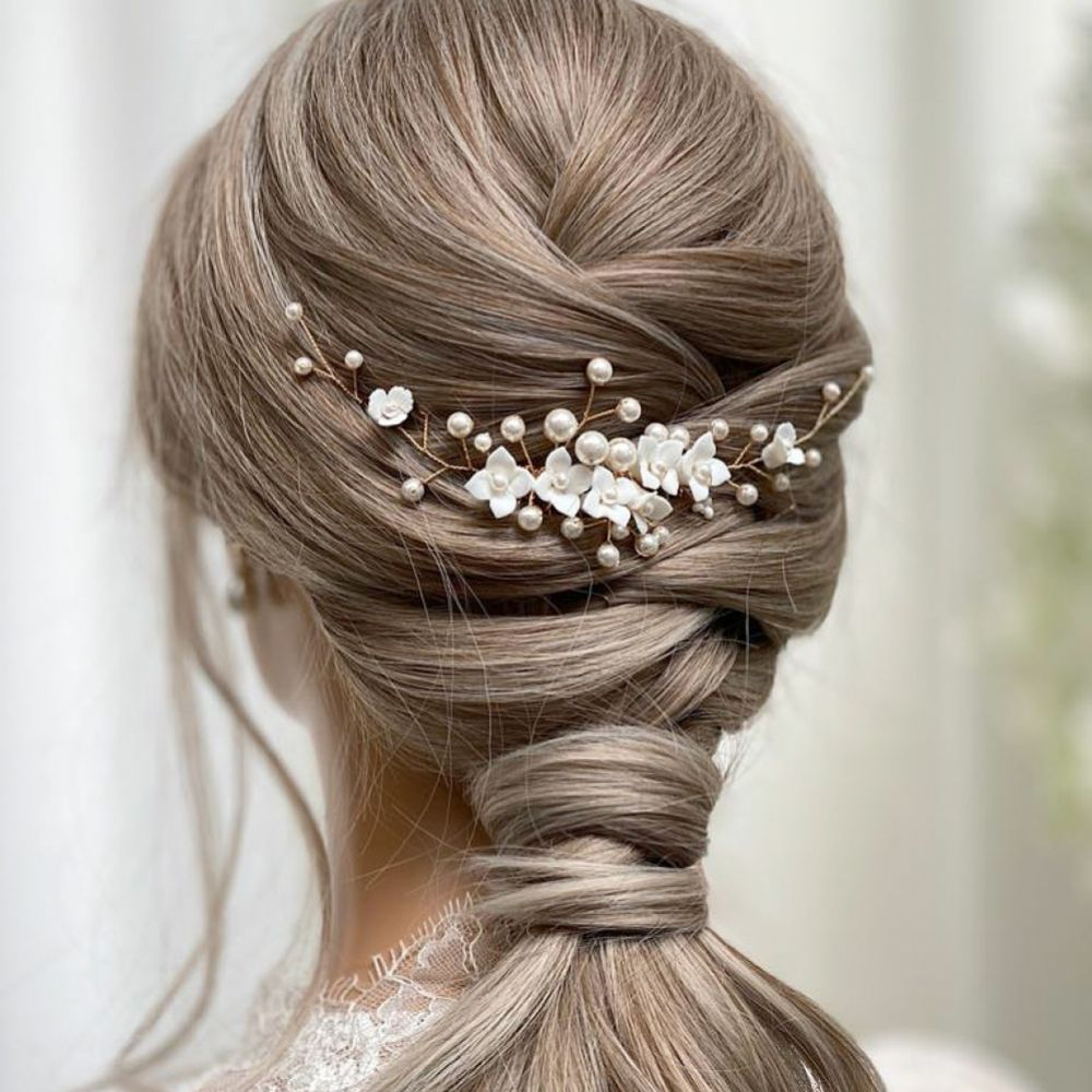 Skye Porcelain Flowers and Pearl Bridal Hair Comb (Gold)