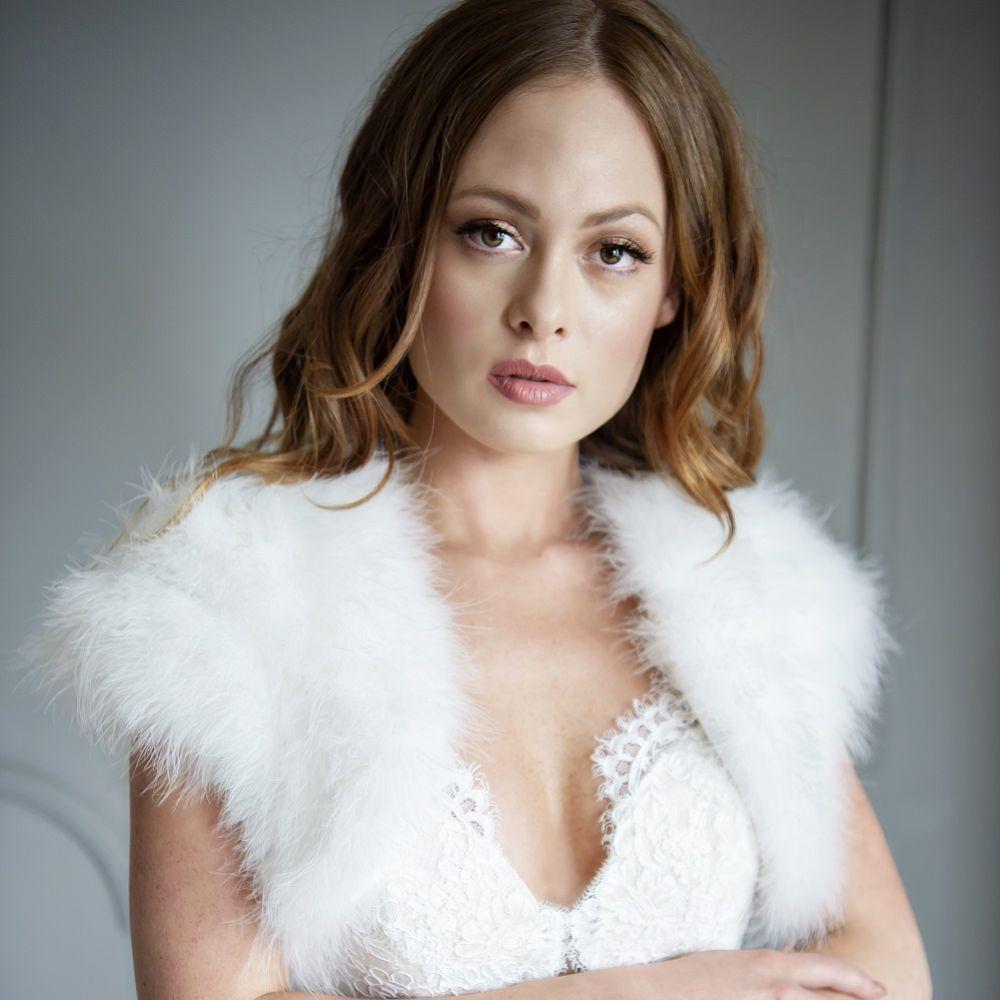 Sophia Ivory Feather Bridal Bolero