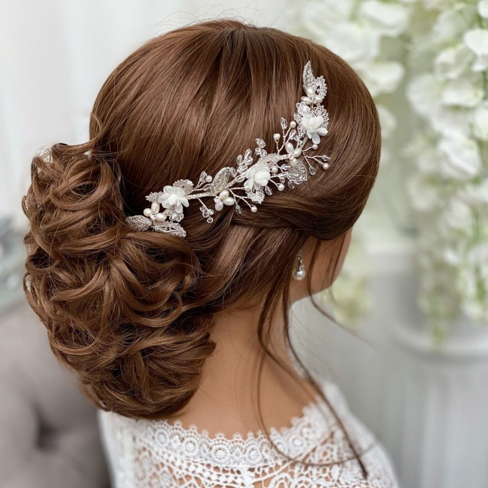 Tabitha Silver Leaves and Ivory Flowers Pearl Hair Vine