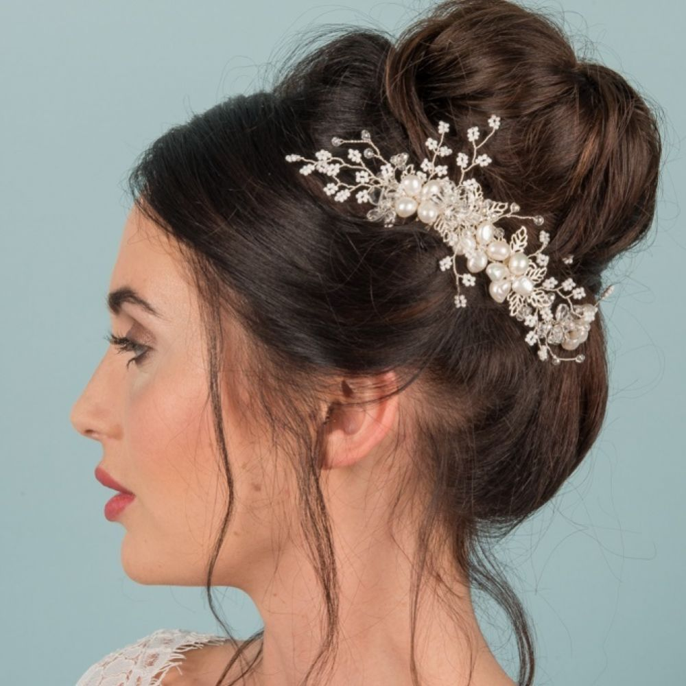 Vinnie Beaded Sprigs and Freshwater Pearl Hair Comb