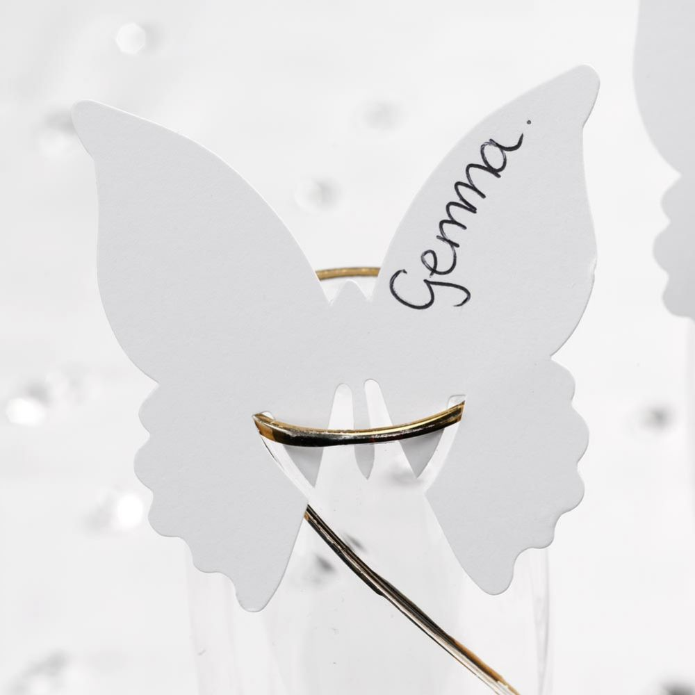 White Butterfly Place Card on Glass - Pack of 10
