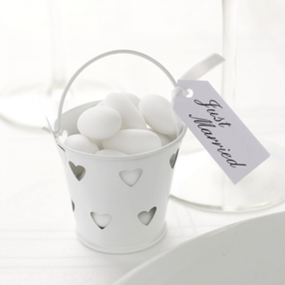 White Heart Buckets - Pack of 5