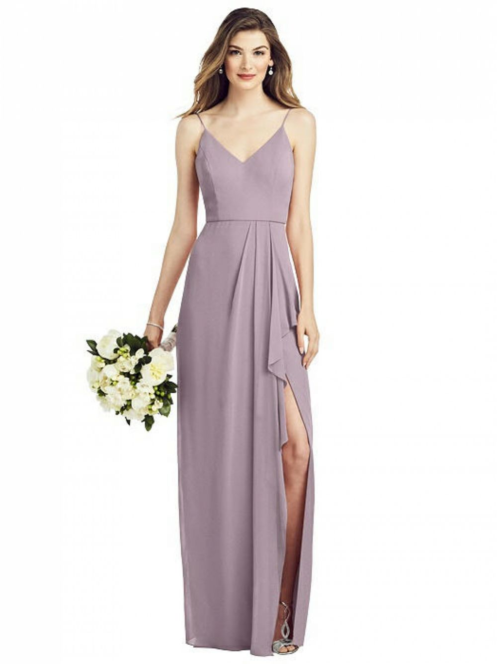 After Six Spaghetti Strap Draped Skirt Gown with Front Slit 6820