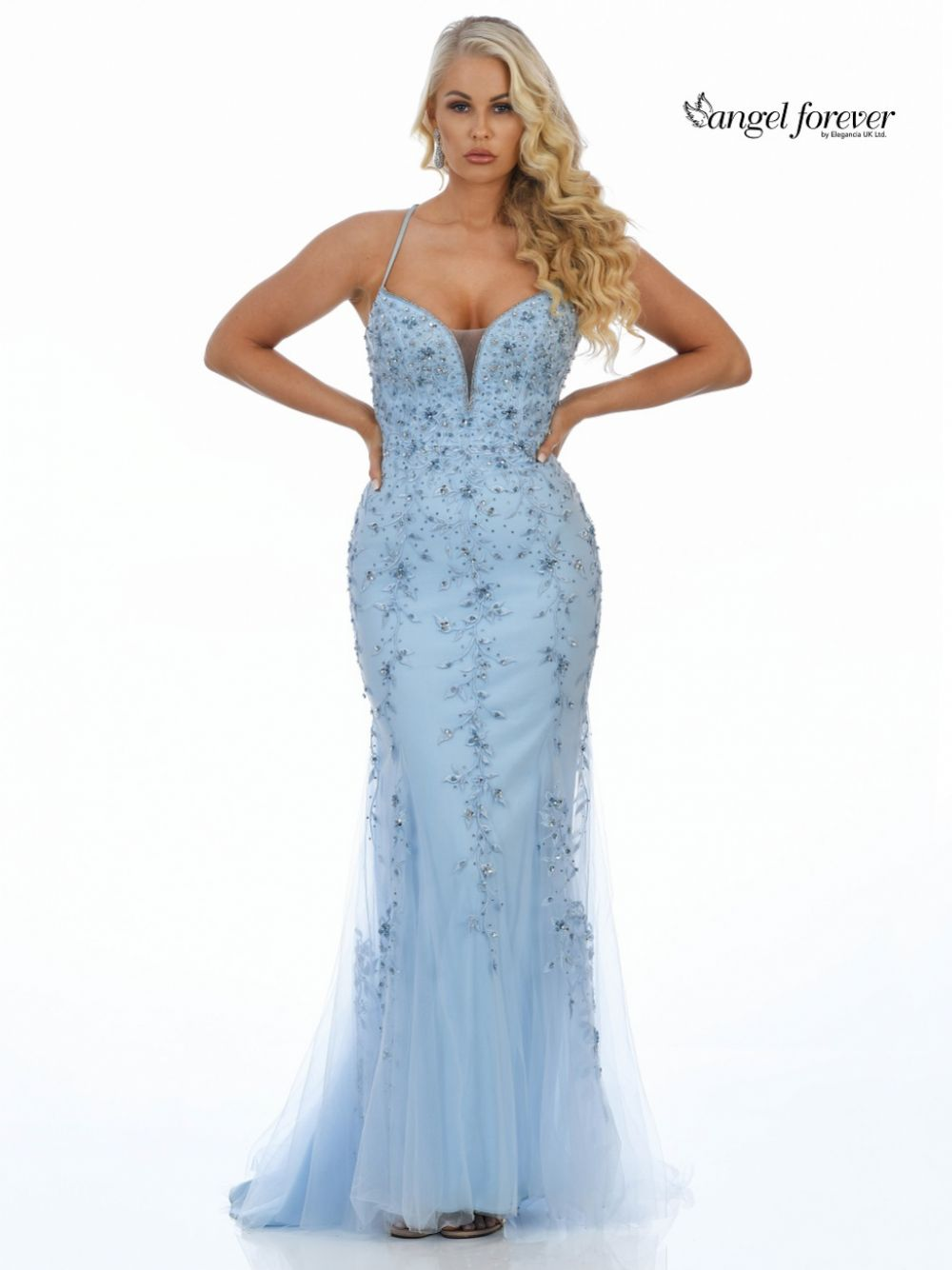 Angel Forever Beaded Lace Backless Fishtail Prom Dress (Ice Blue)