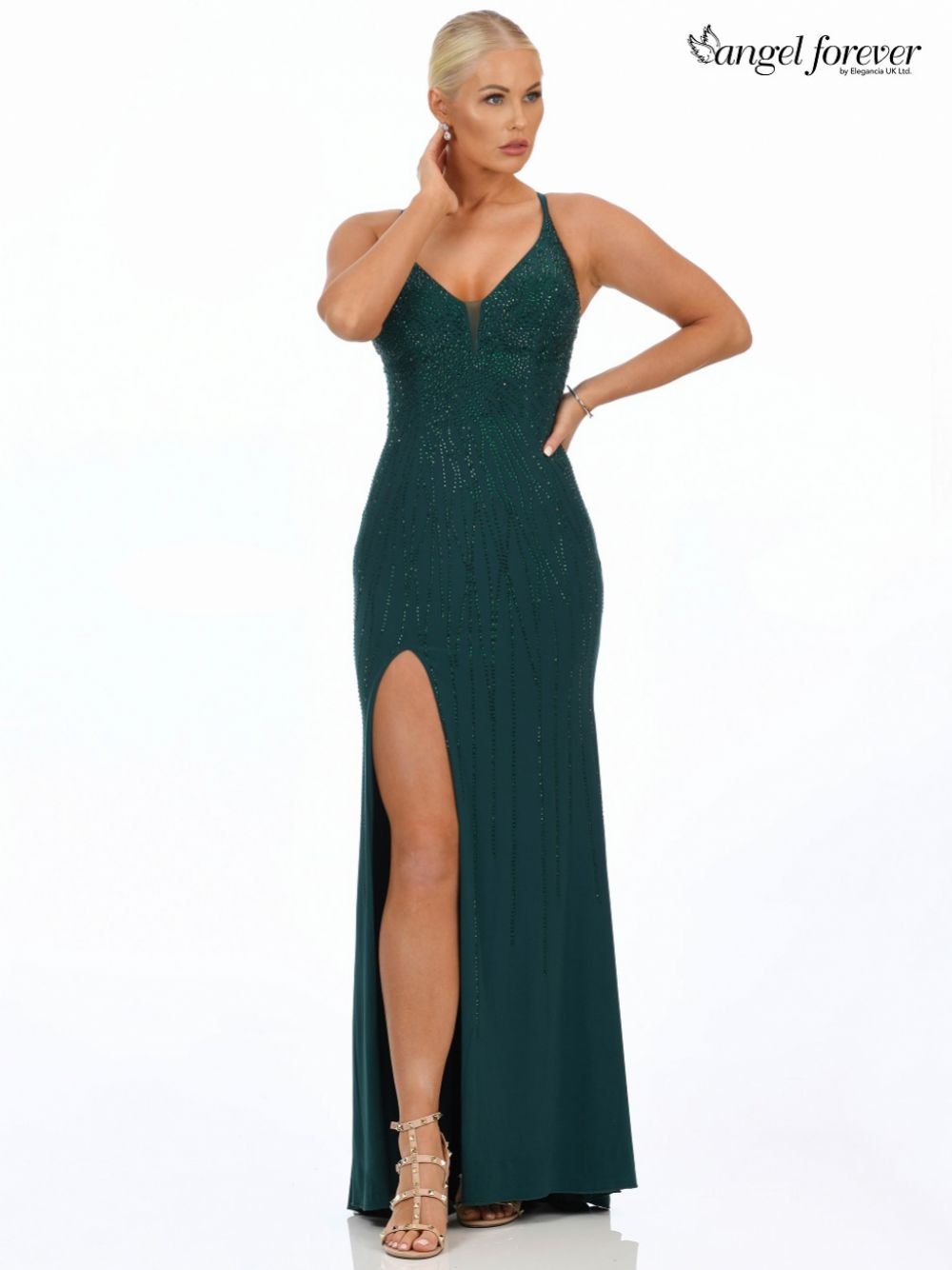 Angel Forever Diamante Embellished Fitted Prom Dress with Slit (Forest Green)