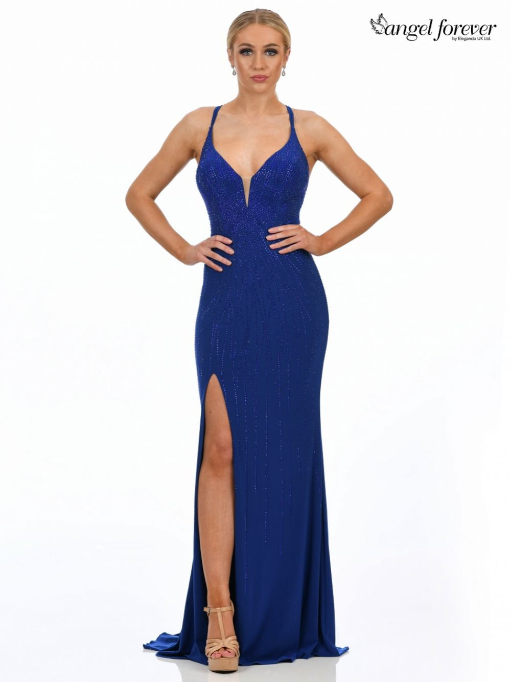 Angel Forever Diamante Embellished Fitted Prom Dress with Slit (Royal Blue)