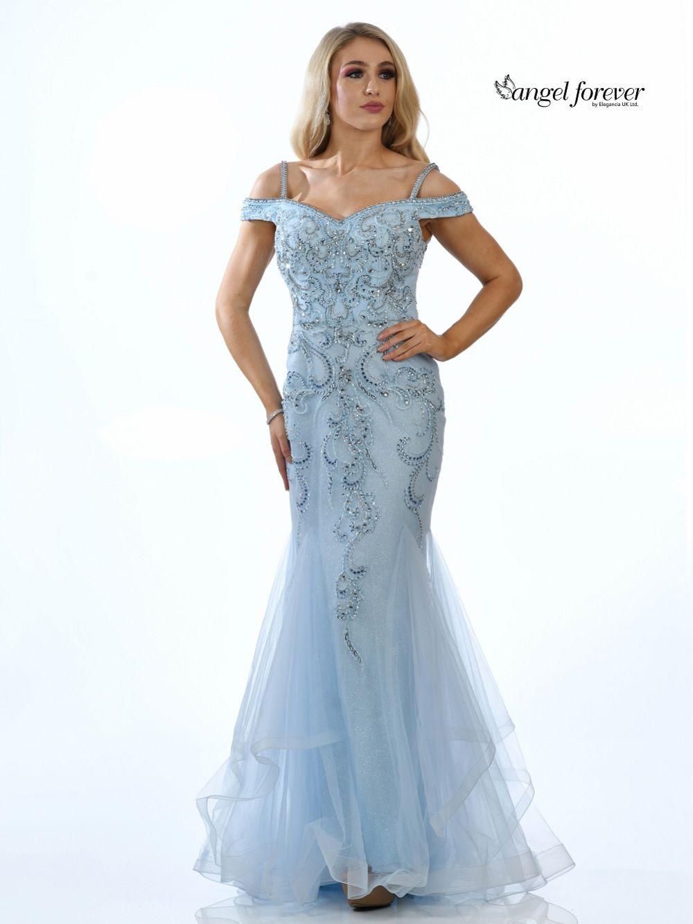 Angel Forever Embellished Shimmer Tulle Mermaid Prom Dress (Ice Blue)