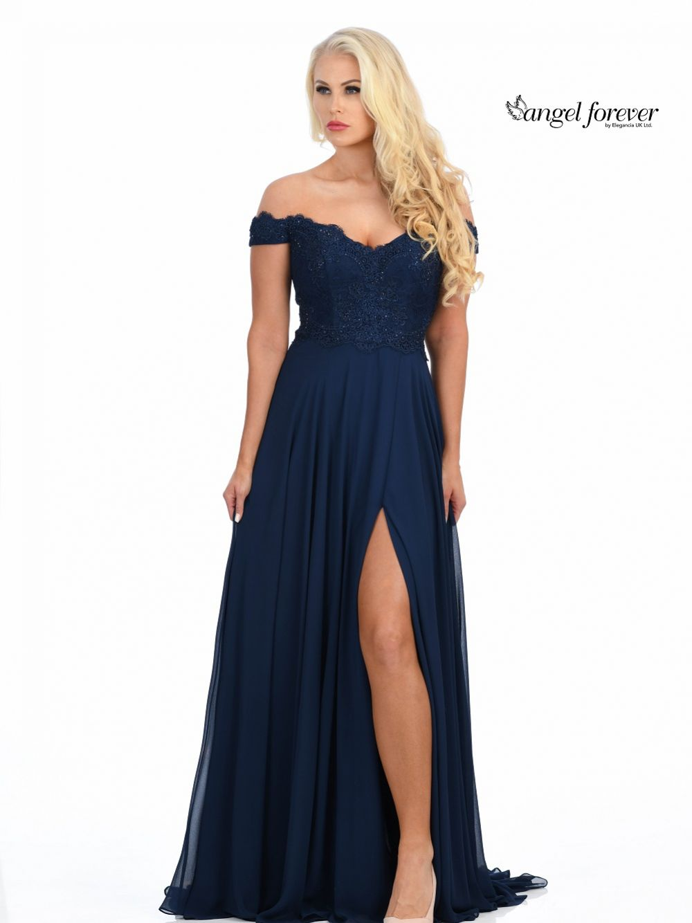 Angel Forever Off The Shoulder Chiffon Prom Dress with Lace Bodice (Navy)