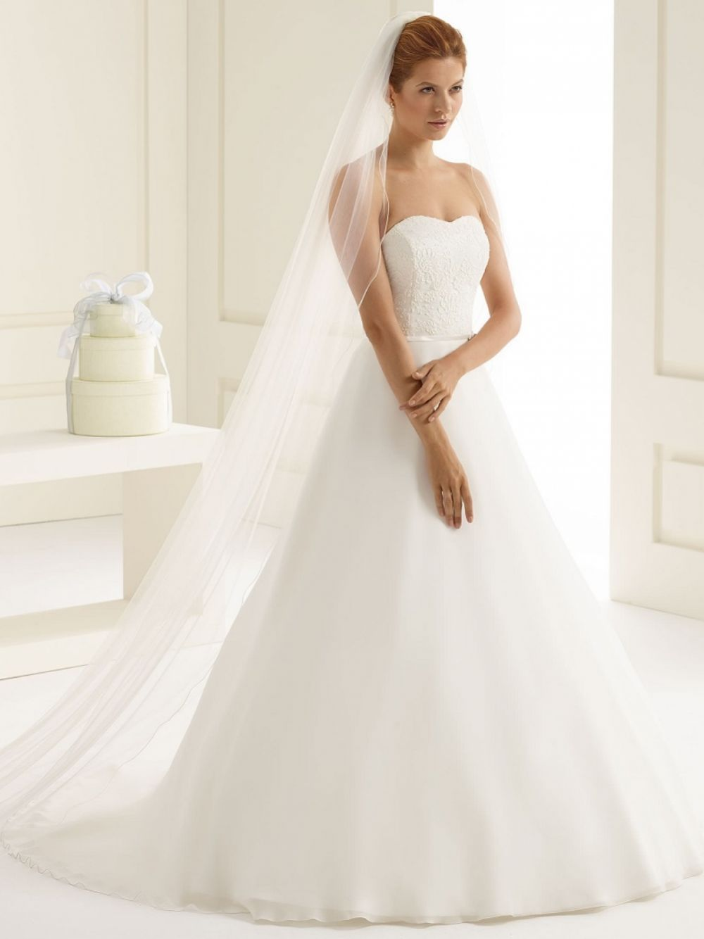 Bianco Ivory Plain Single Tier Cathedral Veil with Corded Edge S213