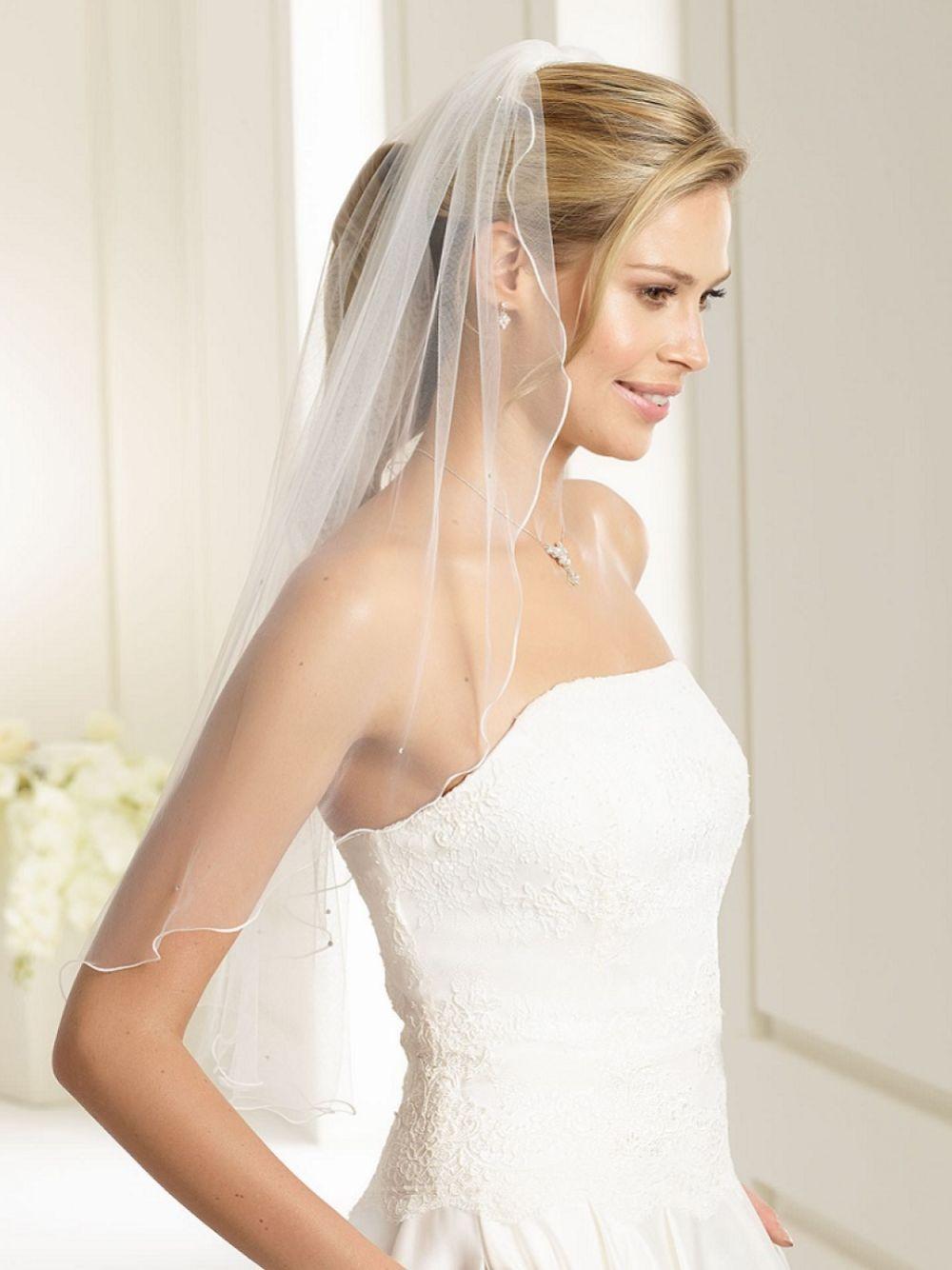 Bianco Ivory Single Tier Swarovski Crystal Elbow Length Veil with Corded Edge S135