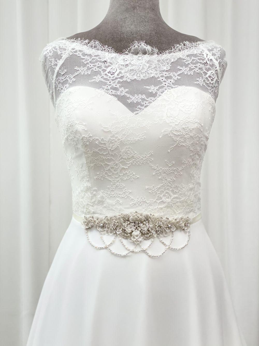 Darlington Embellished Floral Bridal Belt with Beaded Drapes