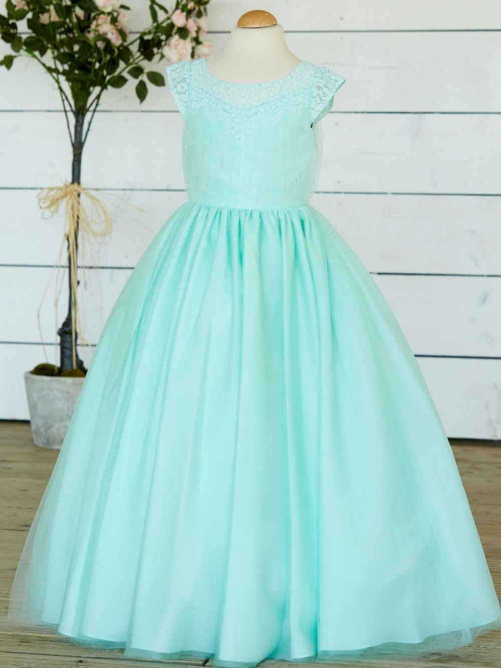 Linzi Jay Lace and Tulle Flower Girl Dress with Cap Sleeves FK053