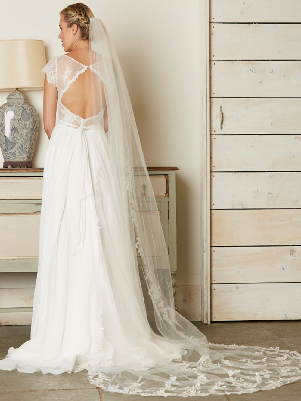 Linzi Jay Single Tier Ivory Cathedral Veil with Beaded Lace Motifs V741