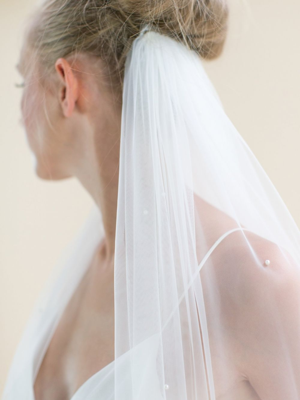Rainbow Club Avalanche Ivory Scattered Pearl Chapel Length Veil