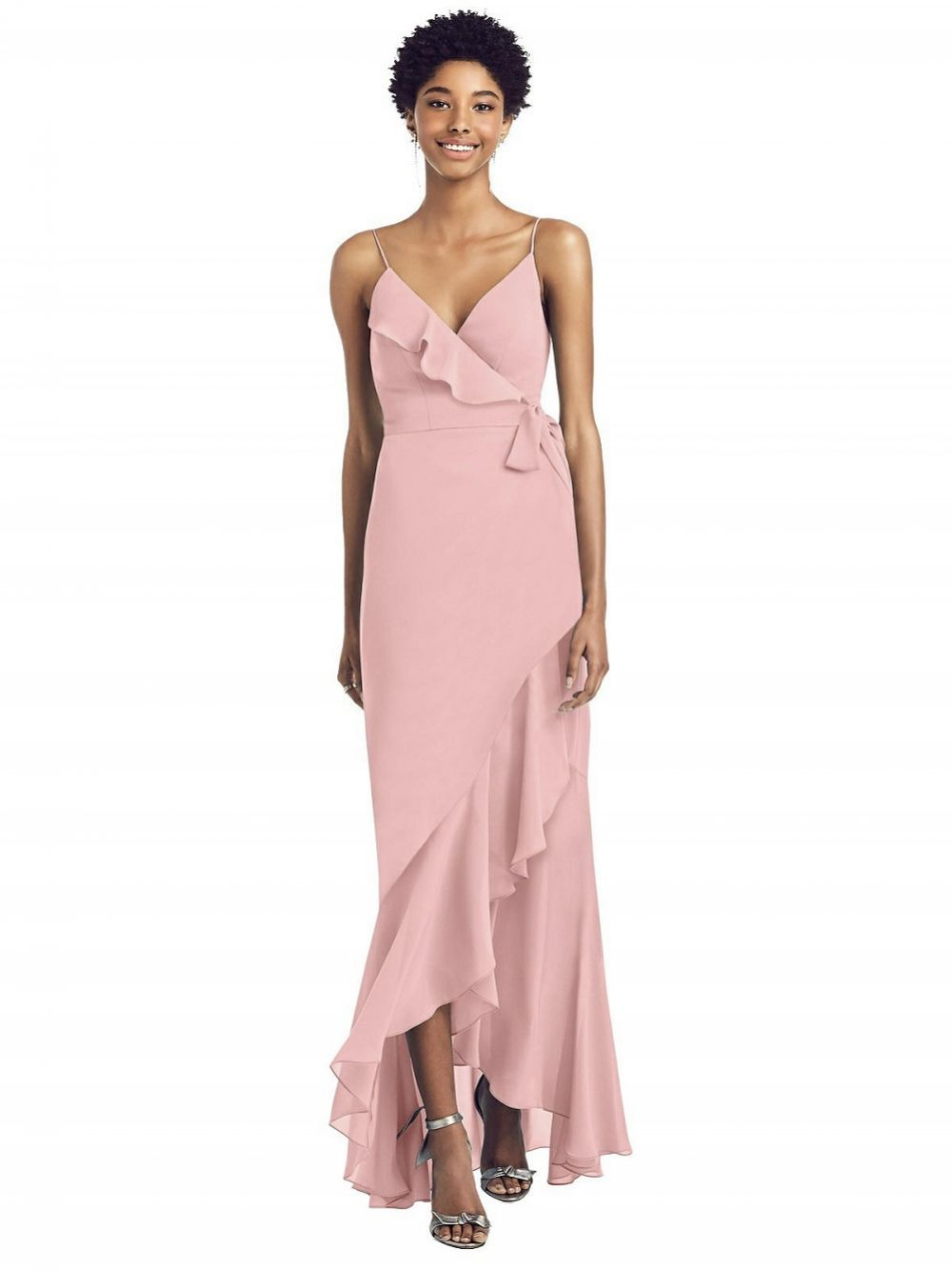 Social Ruffled High Low Faux Wrap Dress with Spaghetti Straps 8198