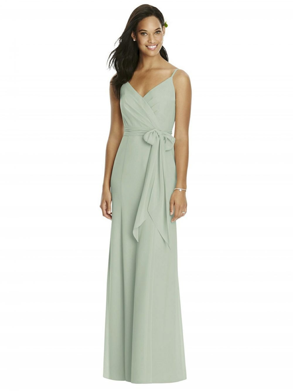 Social V-Back Draped Wrap Trumpet Gown with Sash 8181