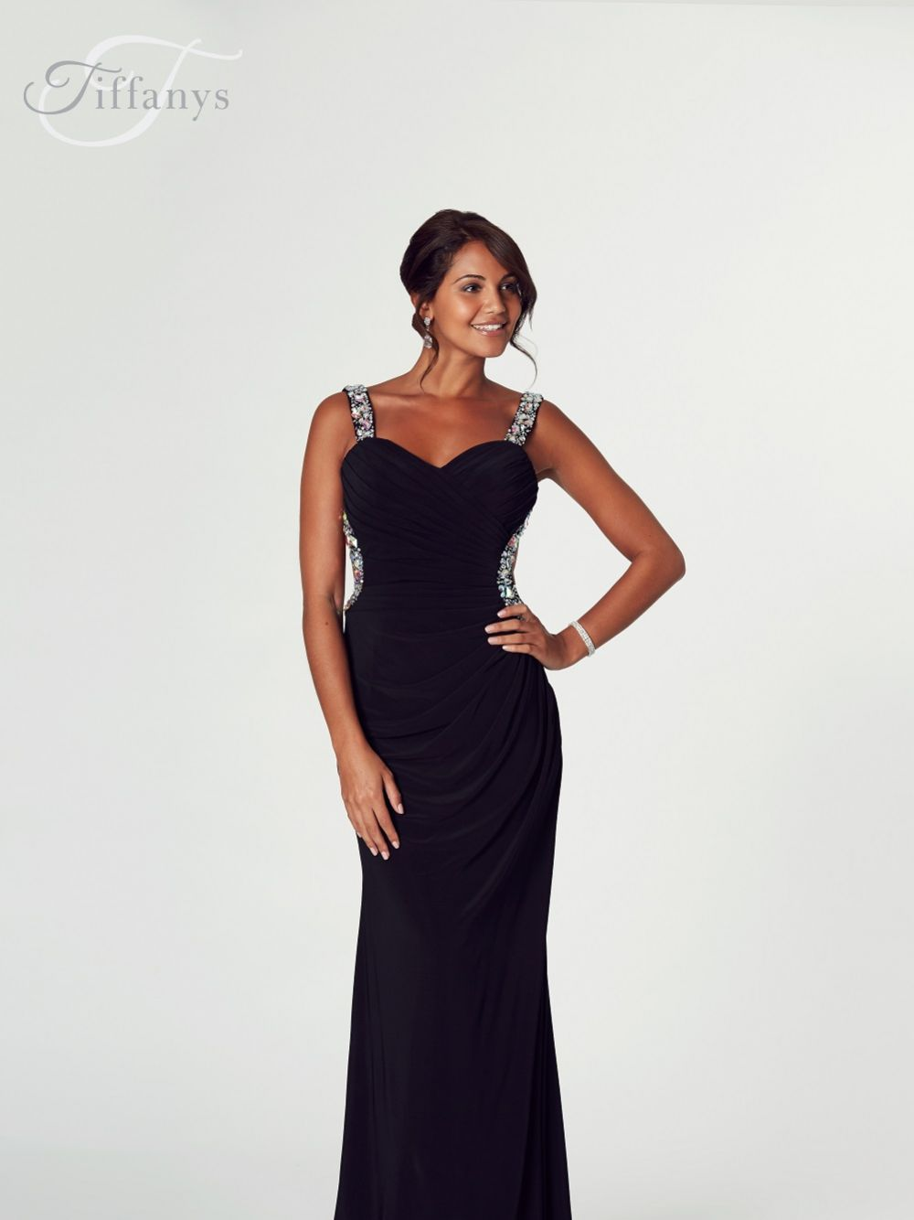 Tiffanys Illusion Prom Giana Ruched Jersey Backless Prom Dress