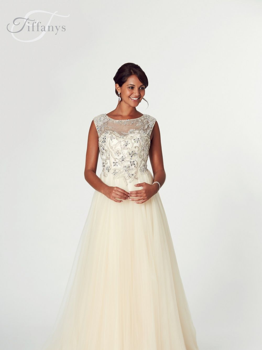 Tiffanys Illusion Prom Grace A Line Prom Dress with Beaded Bodice